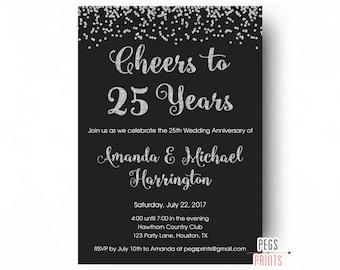 Cheers to 50 years invitation 50th anniversary invitation 25th anniversary invitations printable 25th wedding anniversary invitations cheers to 25 years glitter stopboris Gallery
