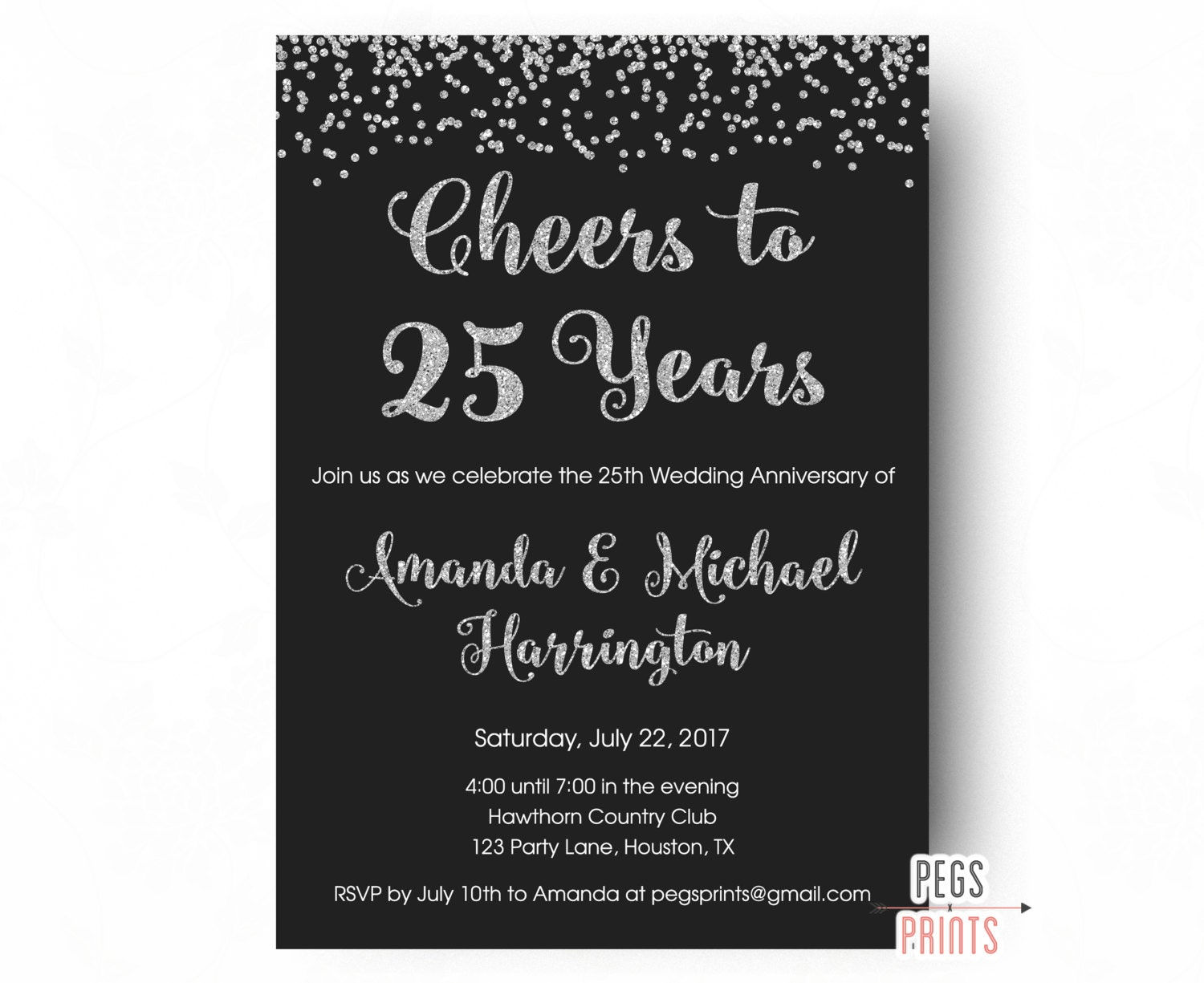 25 Years Wedding Anniversary Gifts Idea: 25th Anniversary Invitations PRINTABLE 25th Wedding