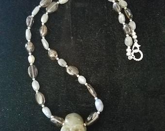 Labradorite skull necklace