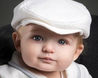 White Newsboy Cap For Baby Boys