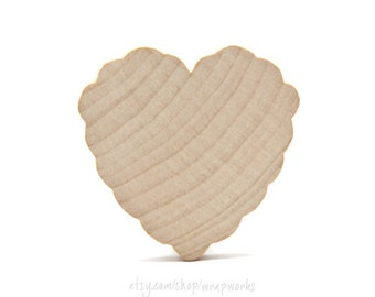 10 Scalloped or Ruffled Solid Wood Hearts, 2 In High and 3/16 Thick ,  Natural Wood Heart  for Crafting, Staining, Painting
