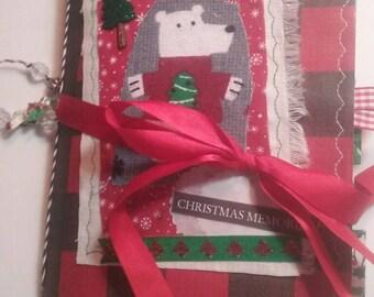 Christmas journal, Polar bear journal, junk journal, Mixed media junk journal, December daily