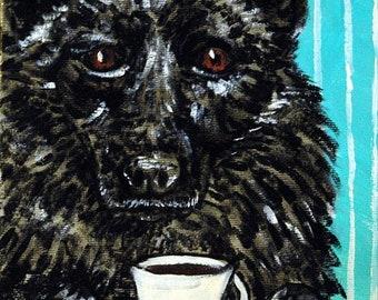 25% off Shipirke dog art PRINT  poster coffee