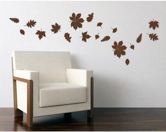 Falling Leaves autumn wall decal, sticker, mural, vinyl wall art
