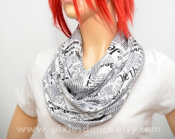 Newspaper scarf - Black & White  infinity scarf with newspaper print