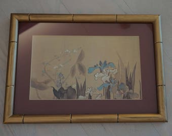 Irises in Bamboo Frame