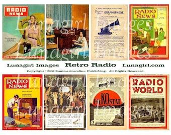 RETRO RADIO digital collage sheet, vintage magazines, 1940s 1950s women men altered art images, 1920s 1930s Victrola ads ephemera DOWNLOAD