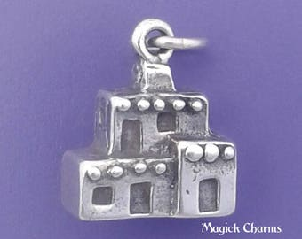 ADOBE HOUSE Charm .925 Sterling Silver Pueblo, Arizona, New Mexico Pendant - lp1157