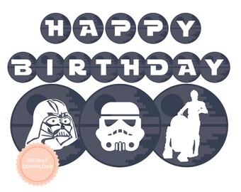 INSTANT DOWNLOAD Star Wars Happy Birthday Banner (Star Wars party, Darth Vader, Stormtrooper, Printable Happy Birthday Banner)