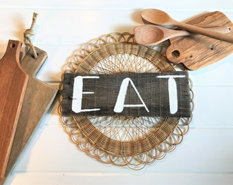 Eat Kitchen Sign | Small Reclaimed Wood Sign | Farmhouse Decor | Kitchen and Dining Room Sign | Rustic Wall Decor | Kitchen Decor