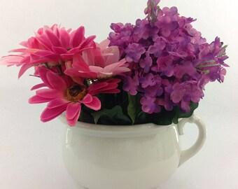 Antique Semi Porcelain Planter/Chamber Pot, Vintage Planter, White Planter, Vintage Planter, Outdoor Pot