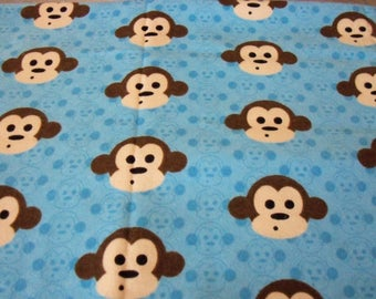 Monkey Faces Fabric Blue Flannel Background By Fat Quarter New BTFQ