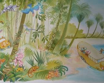 Watercolor Landscape Tropical 83x54 Handmade Original