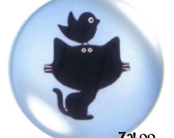 1 cabochon 30mm glass, cat and bird silhouette, blue and black