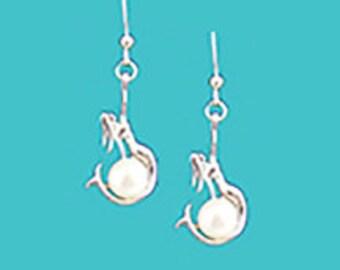 Mermaid w/ Freshwater Pearl Earrings