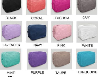 Large Personalized Waffle Weave Cosmetic Bag, Make Up Bag, Gift For Brides, Bridesmaids, gift for women, sorority, FREE monogram, 12 colors