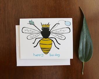 Greeting Card - Happy Bee Day - Birthday - garden, farm, bee, honey, gift, humor, witty, mom, women