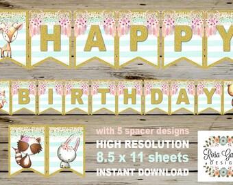 TRIBAL Woodland Birthday Banner, Digital Printable Banner, Tribal Woodland Birthday Party, Customized Printable Banner, Dreamcatcher Banner