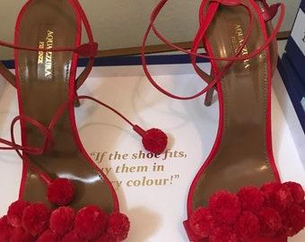 Aquazurra Red Pom Pom Pumps