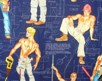 Construction Workers,  Hunks Fabric,  1 Yard, Construction Hunks, Alexander Henry Heavy Equipment,  Over Sized, Cotton Fabric