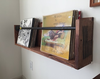 Elegant Vinyl Record Wall Holder Shelf Floating With Steel Piping Pallets Reclaimed  Wood Records Music Room Record