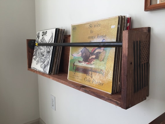 Vinyl Record Wall Holder Shelf Floating With Steel Piping