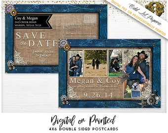 Country rustic Save the Date, Rustic save the date, Denim and Lace Save the Date, Digital File or Printed 4x6 Postcard, Cowboy save the date