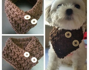 Crocheted Small Dog neck warmer, dog scarf, Puppy scarf  fits most S or M dogs