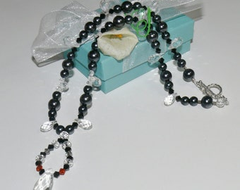 Elegant Radiant Crystal & Swarovski Handmade Beaded Ladies Necklace - Black Pearls