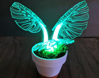 Monstera Plant Lamp - Tropical Decor - Monstera Leaf - LED Light - Desk Lamp - Mood Lamp -
