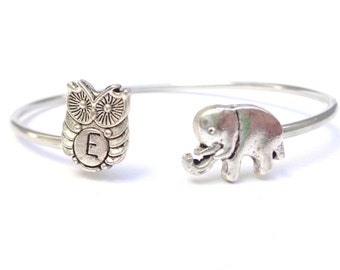 Personalized Elephant bracelet wrap style with an owl, owl wrap