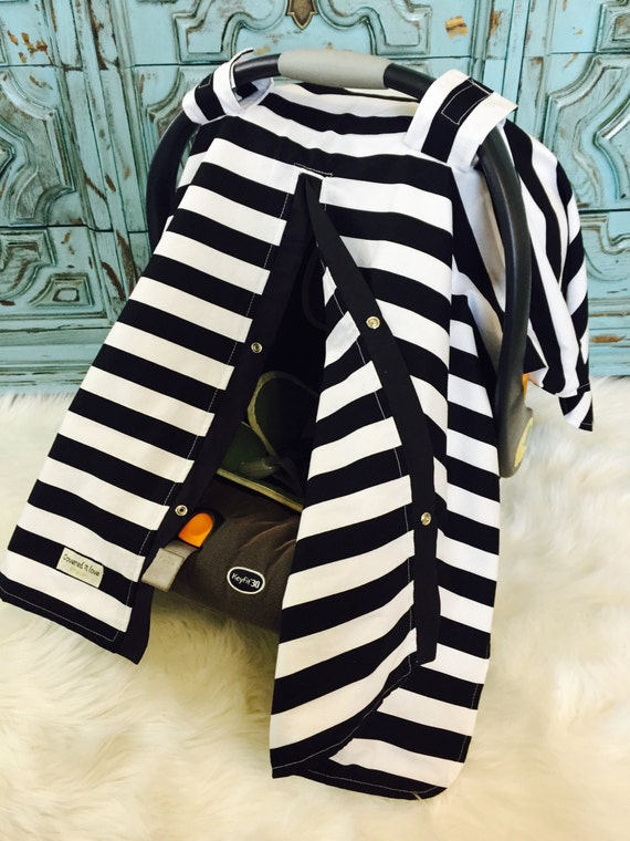 carseat canopy Black and White stripe