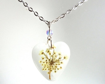 Queen Annes Lace Real Pressed Flower Resin Pendant Heart Necklace