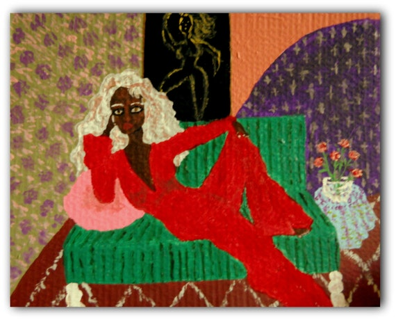 """Inside The Girl Cave-1 Ethnic Folk Art women of color African American Art Acrylic Paint on primed 15.75 x 19.75"""" corrugated cardboard"""