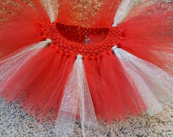 Red and Silver Glitter Tutu ~ 0-6 months