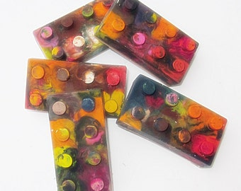 Upcycled Building Block Crayons - Multi-Colored , Bag of 5 - Recycled Crayons, Party Favor, Stocking Stuffer