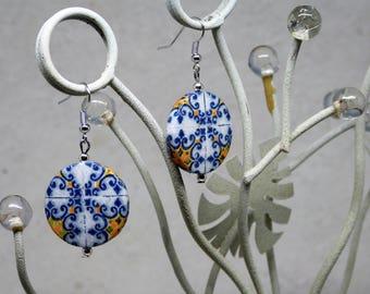 Earrings blue, white, yellow, tiles, Blue earrings, white, yellow,