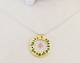 SALE!!! Was 28.99 Now 24.99 Faith, Hope and Courage with Pink Tourmaline Crystal