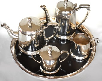 Vintage EPNS Heavy Silver Plate Coffee Pot, Teapot , Sugar, Cream and Tray - Complete Set - EXC!