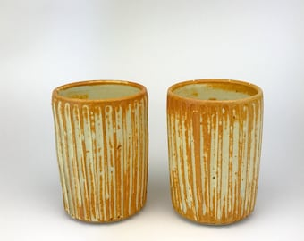 "Tumblers - Water Cups - Handmade Stoneware Tumblers - Kent Harris Pottery - Handmade Cups Set - 4.25"" Tall x 3"" Wide - YS-TM2-1"