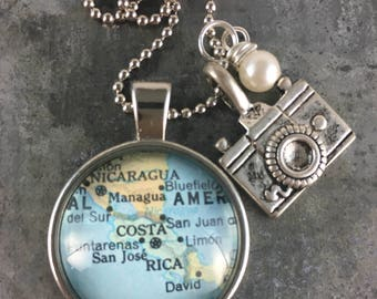 Map Pendant Necklace Costa Rica with camera charm