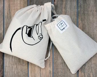 Bag in bulk, reusable cotton bag, handprinted, zero bag waste, lazy
