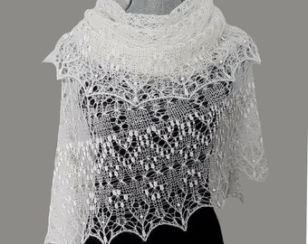White knitted shawl Alpaca wool wedding wrap stole Bridal cover up Beaded lace shawl Elegant wrap scarf for evening party Gift for bride