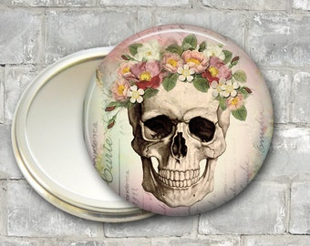skull pocket mirror, day of the dead compact, mirror for purse, Dia de los Muertos hand mirror MIR-956