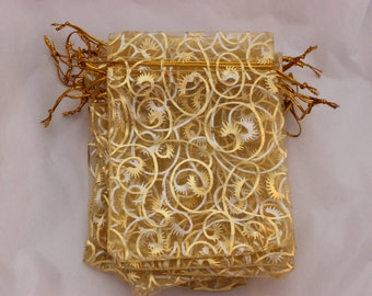 """Gold Organza Bags Eyelash Print 3.5"""" x 4.5"""" Premium Favor Bags 10, 20 or 50 Weddings / Party Favors / Jewelry Bags / Trade Shows"""
