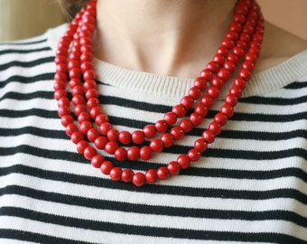 Wooden necklace red bead necklace ethnic statement necklace layered beaded necklace triple bead necklace wooden jewelry eco friendly jewelry