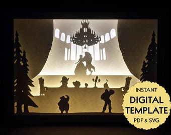 Template Beauty and the Beast Paper Cut File, Silhouette Light Box Tutorial - PDF, SVG Digital Download