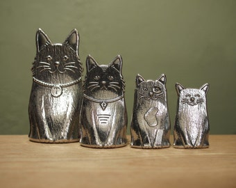 Cat Spoons- Family of Cats Measuring Spoons, Cast in Pewter
