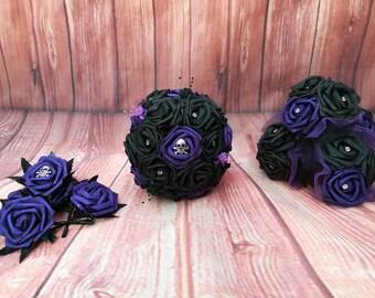 Gothic wedding bouquet package, black and purple bouquet, skull wedding, alternative bouquet, alternative wedding, gothic bride