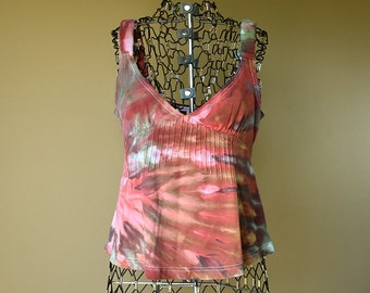 Red Brown Tie Dye Sleeveless Shirt-Size Large L-Women's Clothing-Upcycled tank top